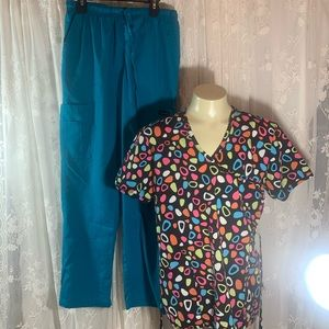 Colorful scrub set Dagacci & Peaches size small